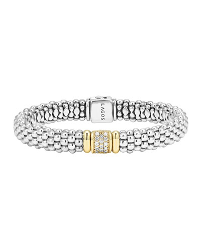 Lagos Silver Caviar Bracelet with 18k Gold, 9mm