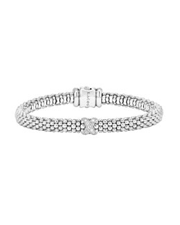 Lagos Silver Caviar Diamond X Bracelet with 18k Gold, 6mm