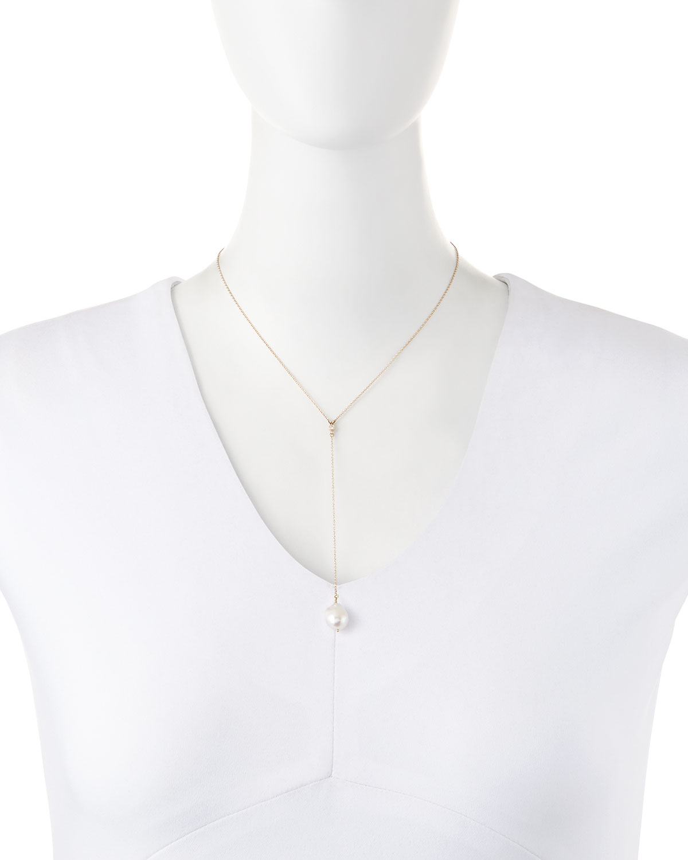 Mizuki 14k Pearl & Diamond Y-Drop Necklace JqDHowgs