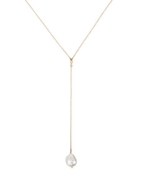 Mizuki 14k Gold Y Drop Necklace with Diamond