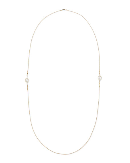 Mizuki 14k Gold Necklace with Diamond & Pearl