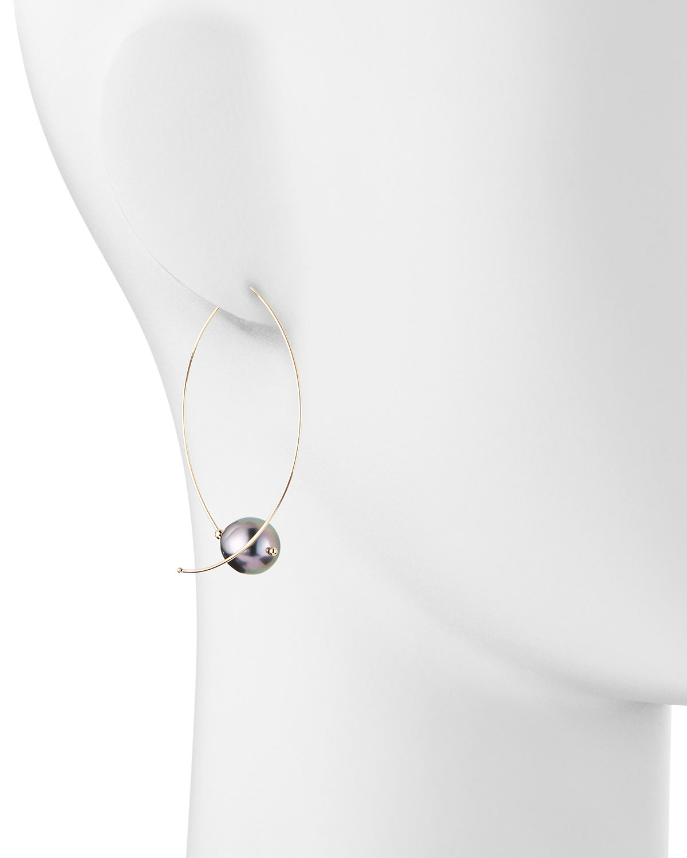 Mizuki 14k Gold Black Tahitian Pearl Earrings V9VAs