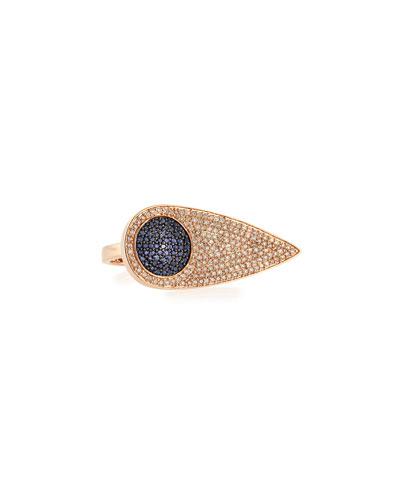 Sydney Evan Sideways Teardrop Eye Ring with Diamonds & Sapphires