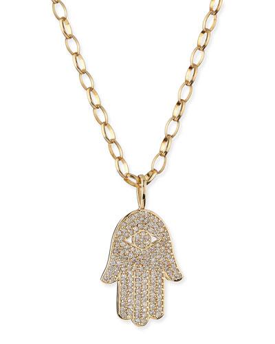 Sydney Evan Pave Diamond Hamsa Charm Necklace