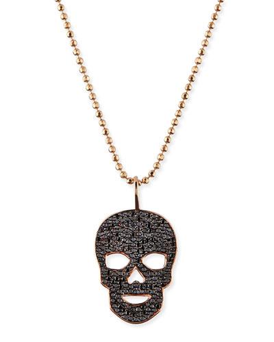 Sydney Evan Pave Black Diamond Skull Charm Necklace