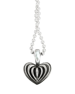 "Lagos Fluted Heart Pendant Necklace, 34""L"