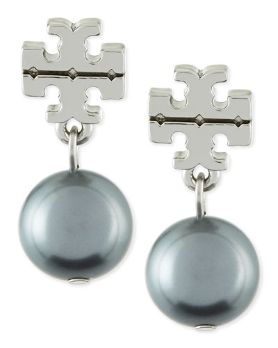 Tory Burch Silvertone Logo Pearl Drop Earrings