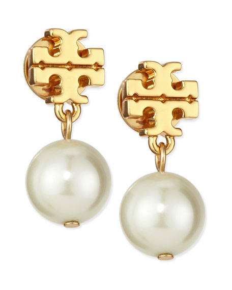 Logo & Simulated Pearl-Drop Earrings