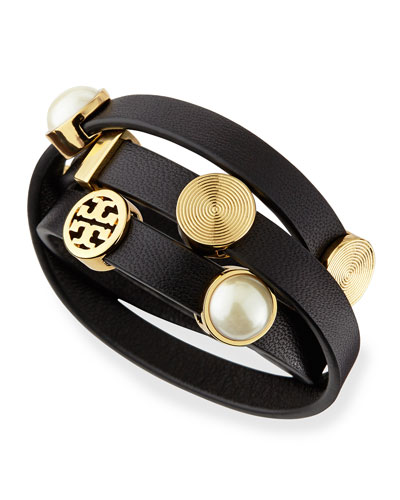 Tory Burch Livia Leather Wrap Bracelet, Black