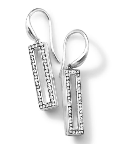 Ippolita Silver Rock Star Candy Small Rectangular Drop Earrings with Diamonds