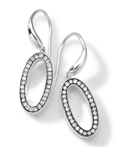 Ippolita Sterling Silver Delicato Oval Earrings with Diamonds