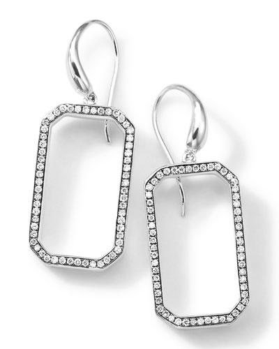 Ippolita Silver Rock Star Octagon Frame Drop Earrings with Diamonds