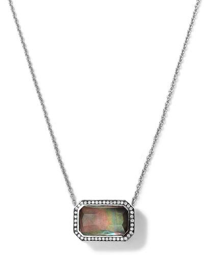 Ippolita Silver Stella Rectangle Black Shell Pendant Necklace with Diamonds
