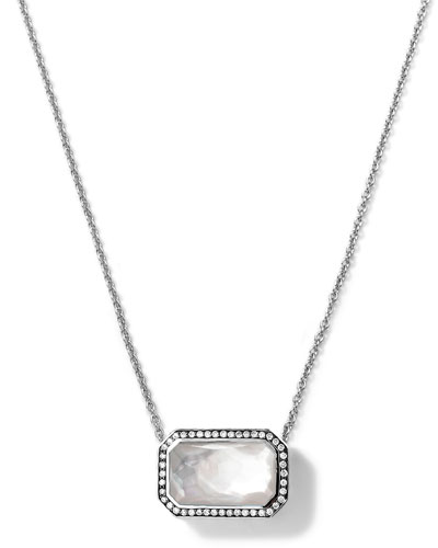 Ippolita Silver Stella Rectangle Mother-of-Pearl Pendant Necklace with Diamonds