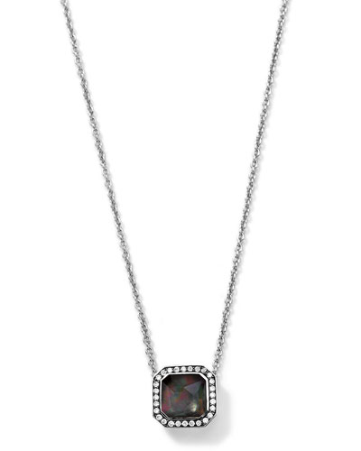 Ippolita Silver Stella Black Shell Pendant Necklace with Diamonds