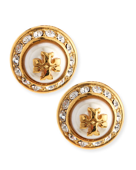 Natalie Pearly Stud Earrings, Gold