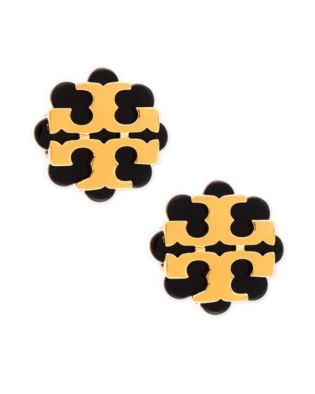 Resin Flower Logo Stud Earrings, Black/Gold