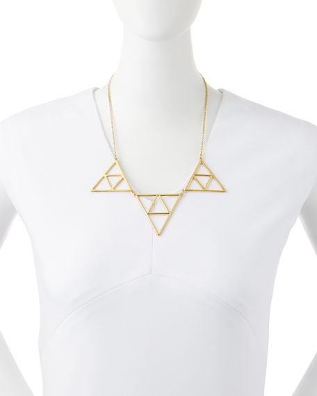Triple Triangle Necklace, Golden