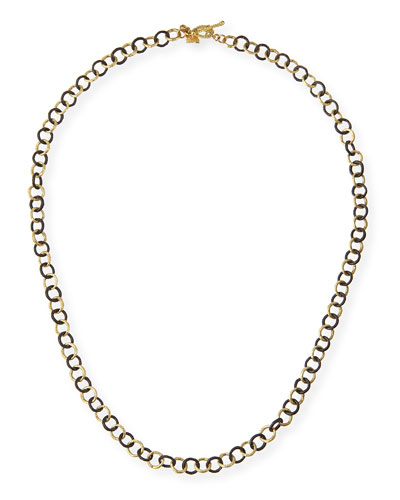 Old World Midnight Oxidized Silver & 18k Gold Necklace