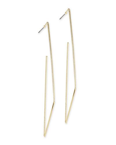 Open Rectangle Hoop Earrings, Golden
