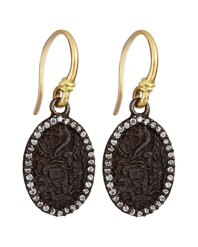 Armenta Old World Carved Oval Earrings with Diamonds