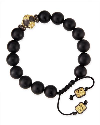 Armenta Onyx Bead Bracelet with 18k Gold Detail