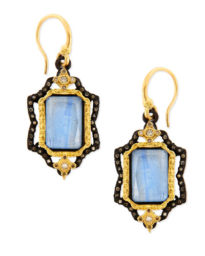 Armenta Old World Emerald-Cut Kyanite Earrings with Diamonds
