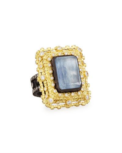 Armenta Old World Emerald-Cut Quartz/Kyanite & Diamond Ring