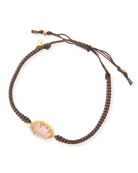 Tai Gray Braided Bracelet with Pink Druzy