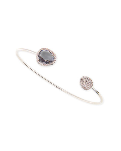 Charcoal Glass & Cubic Zirconia Bracelet