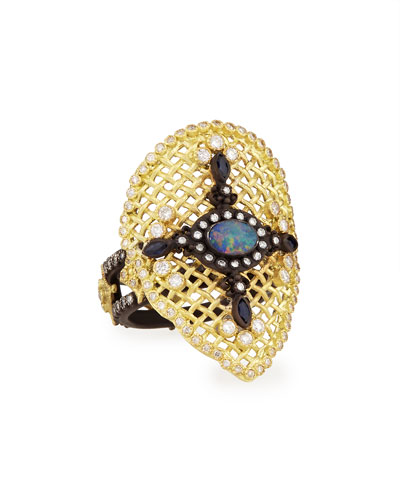 Armenta Old World Mesh Pear Ring