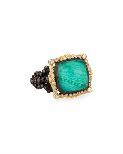 Armenta Old World White Diamond Ring with Malachite/Blue Topaz