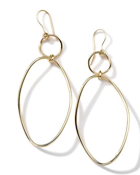 18k Gold Glamazon Simple Wavy Snowman Earrings