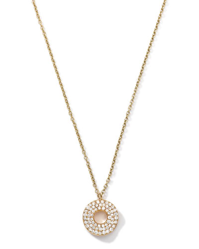 Ippolita 18k Gold Mini Stardust Wavy Disc Drop Necklace with Diamonds (0.22 ctw)