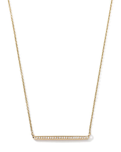 Ippolita 18k Gold Mini Stardust Horizontal Bar Necklace with Diamonds