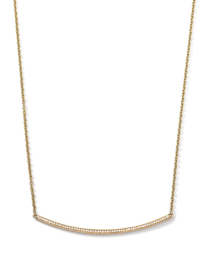 Ippolita 18k Gold Stardust Curved Stick Necklace with Diamonds