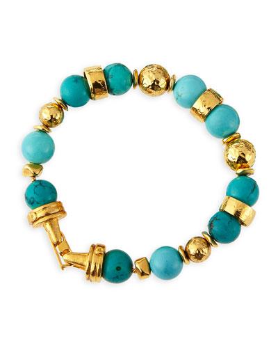 Jose & Maria Barrera Turquoise Beaded Bracelets, Set of 2