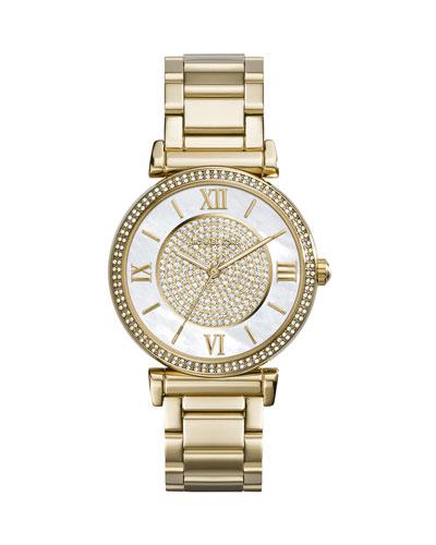 Michael Kors Caitlin Rhinestone Golden Stainless Steel Watch