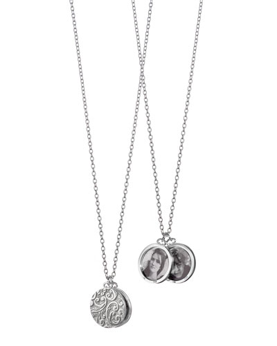 Monica Rich Kosann Sterling Silver Round Floral 2-Photo Necklace