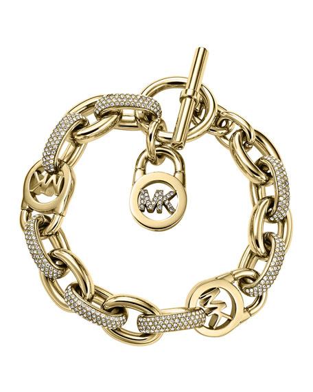 Pave Golden MK Toggle Bracelet