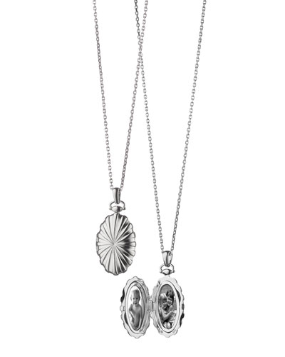Monica Rich Kosann Sunburst Silver Oval Locket Necklace