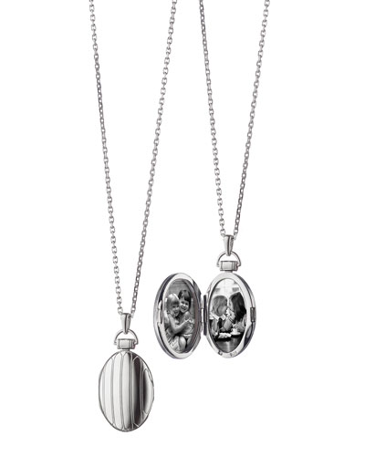 "Monica Rich Kosann 1"" Pinstriped Silver Oval Locket Necklace"