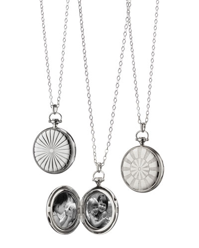Silver Dart Board Locket Necklace