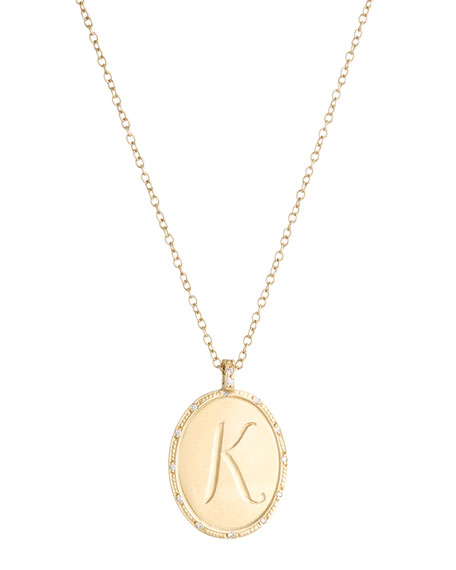 Jamie Wolf 18k Yellow Gold Oval Initial Pendant Necklace with Diamonds