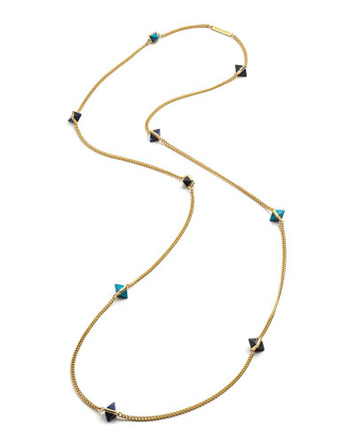 9-Station Yellow Gold-Plated Pyramid Necklace, Blue