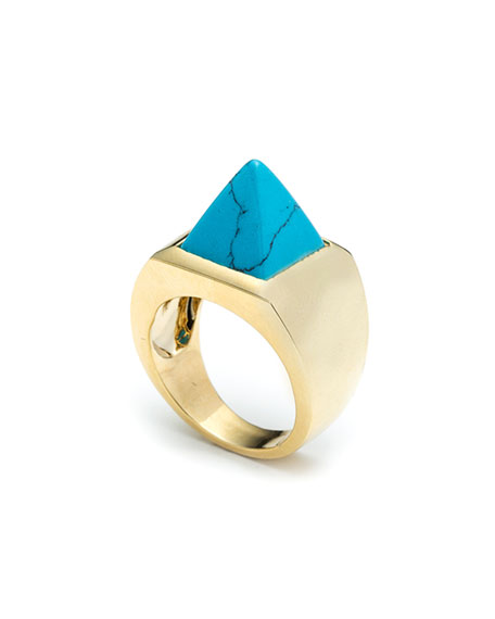 Eddie Borgo Imitation Turquoise Pyramid Ring