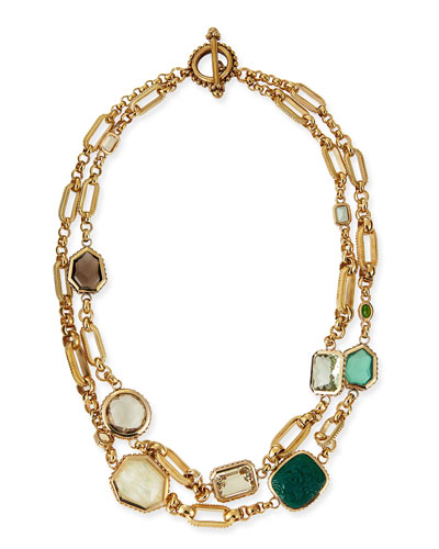 Two-Strand Green Stone Necklace