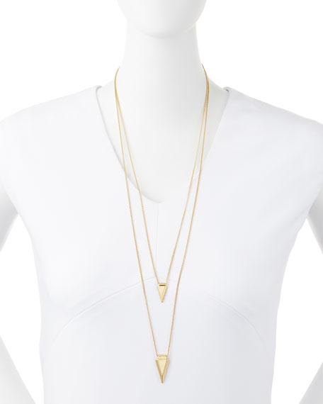 Shark Tooth Layered Necklace, Golden