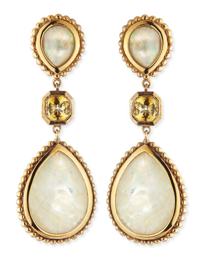 Mother-of-Pearl & Citrine Drop Earrings
