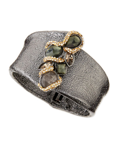 Alexis Bittar Hammered Cuff with Top Stones